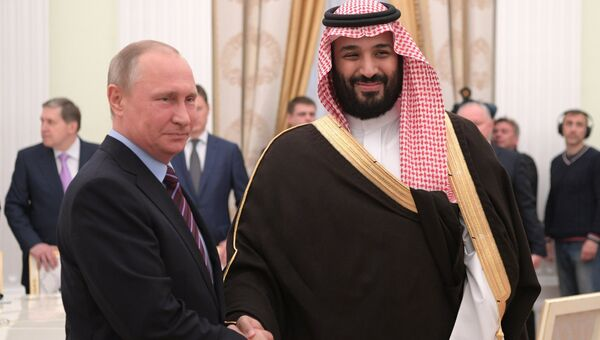 Президент РФ Владимир Путин и заместитель наследного принца Саудовской Аравии Мухаммад ибн Салман Аль Сауд. 30 мая 2017