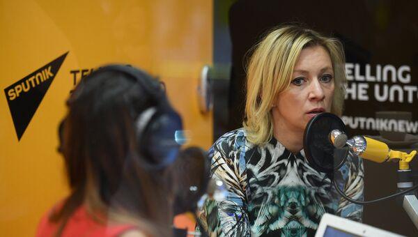Официальный представитель министерства иностранных дел Росьсии Мария Захарова во время интервью радио Sputnik на ПМЭФ. 1 июня 2017