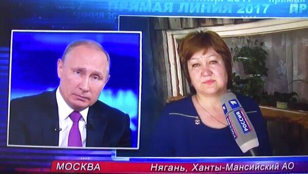 Жительница Нягани на прямой линии с президентом РФ Владимиром Путиным. Архивное фото