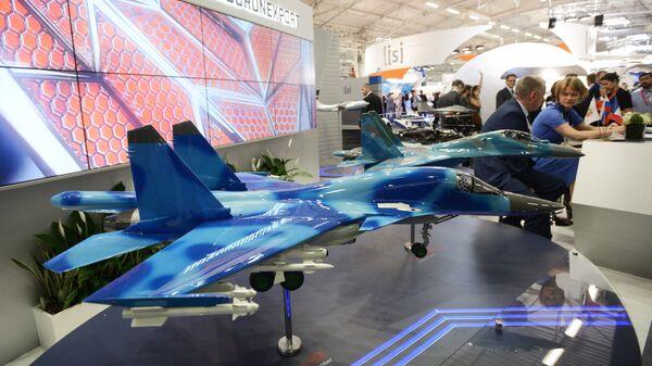 Стенд российской компании Рособоронэкспорт на Международном авиасалоне Ле Бурже