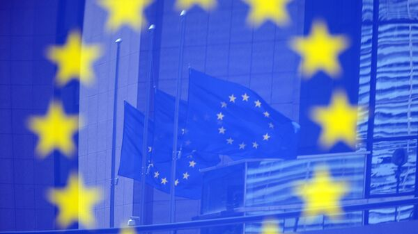 Флаги ЕС в Европейском квартале в Брюсселе