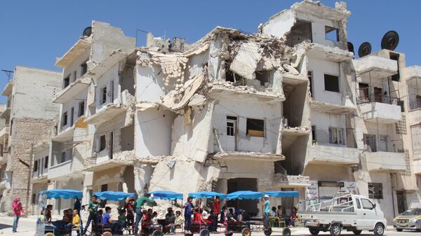 Разрушенное здание в Идлибе. Архивное фото