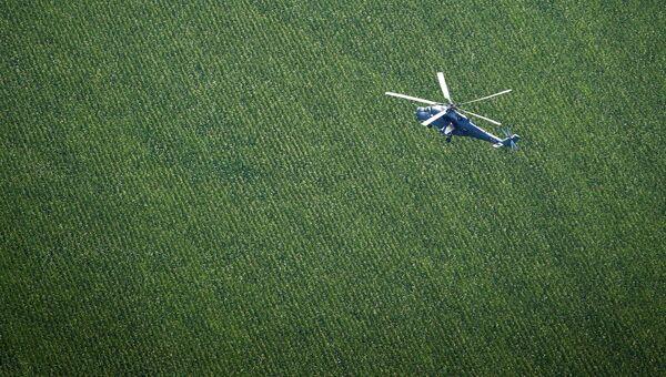 Транспортно-боевой вертолет Ми-35М во время совместных тактико-специальных учений соединений специального назначения и экипажей армейской авиации на аэродроме Кореновский в Краснодарском крае