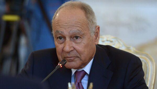 Генеральный секретарь Лиги арабских государств Ахмед Абуль-Гейт во время встречи с Сергеем Лавровым в Москве. 5 июля 2017