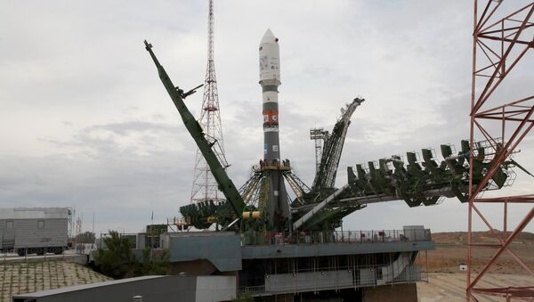 Ракета-носитель Союз-2.1а на стартовой площадке космодрома Байконур. Архивное фото
