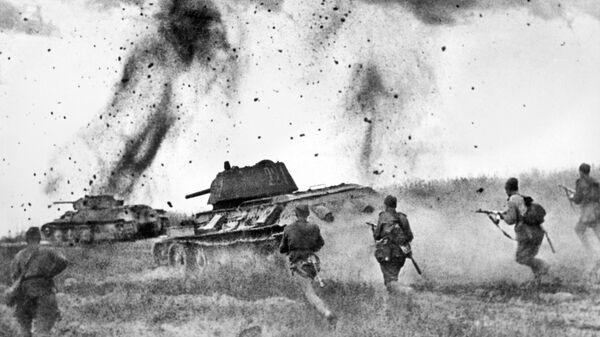 Курская дуга. Атака соединений 5 Гвардейской танковой армии в районе Прохоровки. Июль 1943