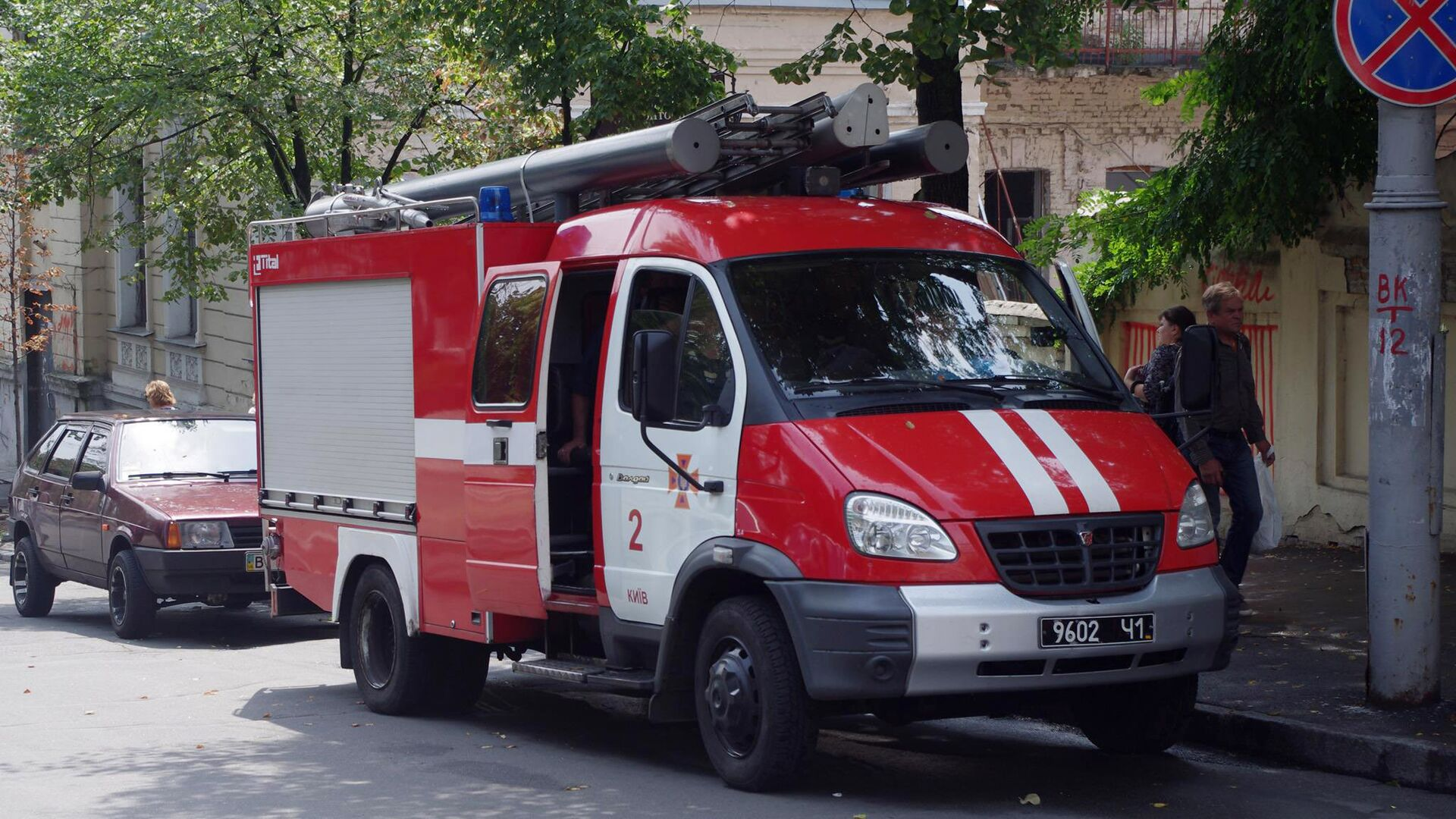 Пожарная машина в Киеве  - РИА Новости, 1920, 01.08.2021
