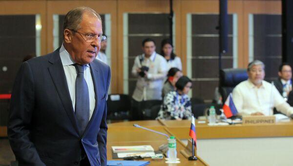 Министр иностранных дел РФ Сергей Лавров во время встречи с министрами иностранных дел стран-участниц АСЕАН. 6 августа 2017