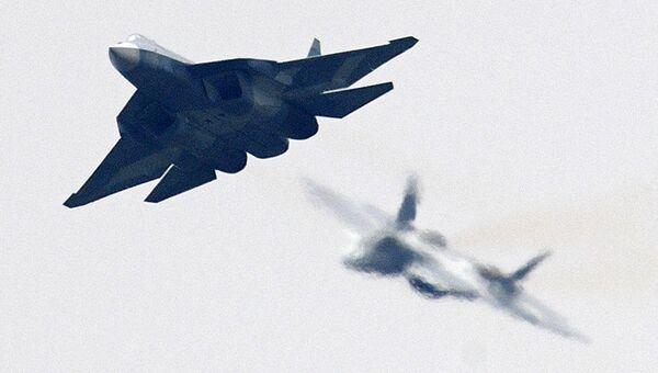 Российский многофункциональный истребитель пятого поколения Су-57. Архивное фото
