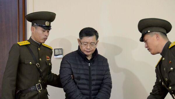 Канадский пастор Хеон Су Ли во время судебного разбирательства в суде Северной Кореи