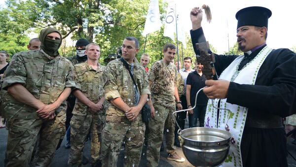 Проводы бойцов батальона нацгвардии Шахтерск в Киеве в зону силовой операции