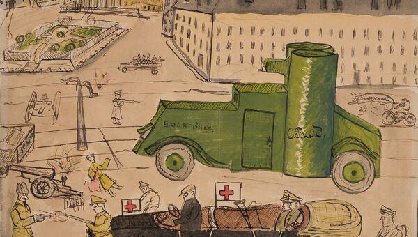 Детский рисунок Бой на Театральной площади. 1917 год