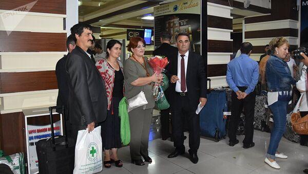 Встреча учителей из России в международном аэропорту Душанбе