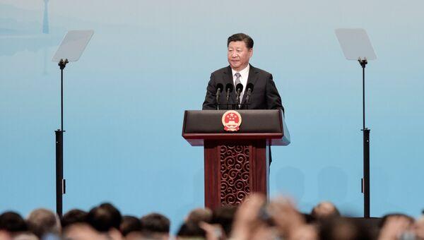 Президент Китая Си Цзиньпин выступает на открытии саммита БРИКС в Китае. 3 сентября 2017