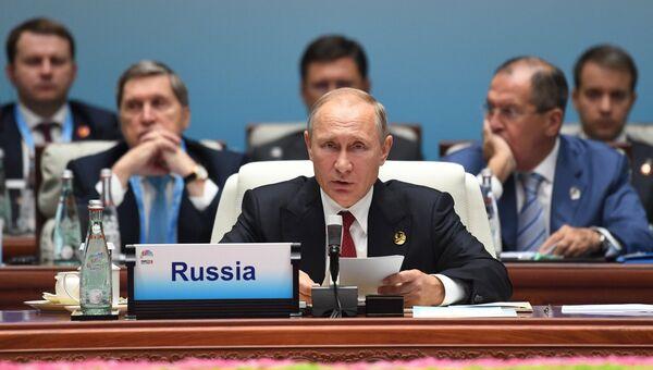 Президент РФ В. Путин на саммите лидеров БРИКС.