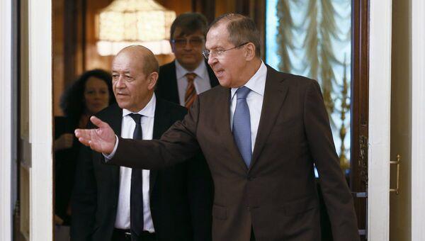 Министр иностранных дел России Сергей Лавров и министр иностранных дел Франции Жан-Ив Ле Дриан во время встречи. 8 сентября 2017