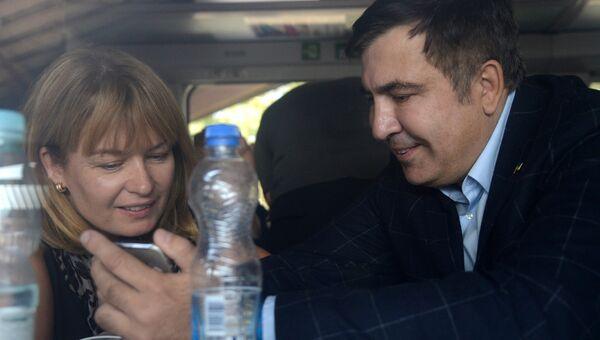 Михаил Саакашвили с женой Сандрой Рулофс. Архивное фото