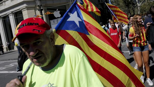 Празднование Национального дня Каталонии в Барселоне. Архивное фото