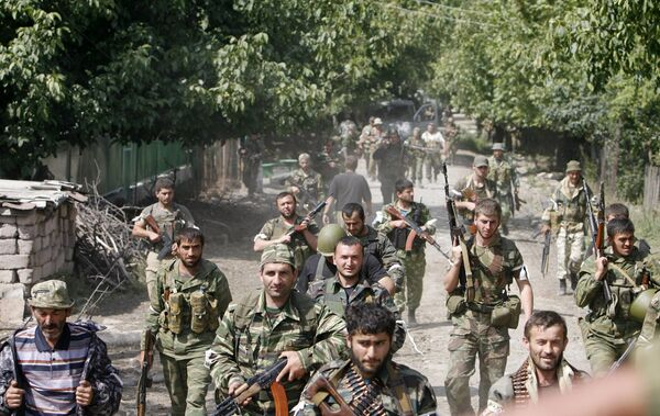Резервисты Южной Осетии в окрестностях Цхинвали