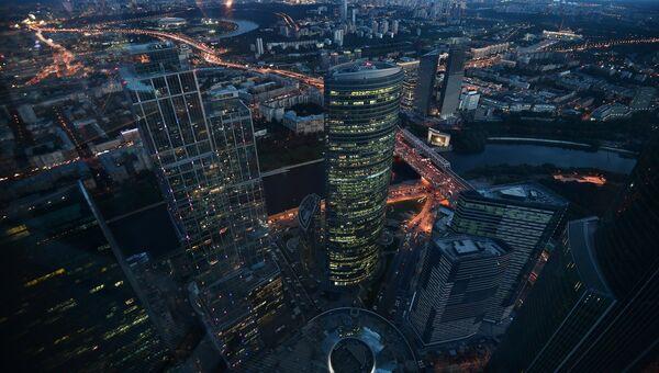 Вид с 89-го этажа Башни Федерация-Восток делового комплекса Москва-Сити