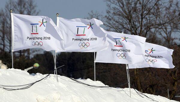 Флаги с эмблемой XXIII Зимних Олимпийских игр 2018 года в Пхенчхане. Архивное фото