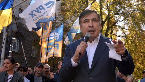 Михаил Саакашвили во время выступления в Киеве. Архивное фото