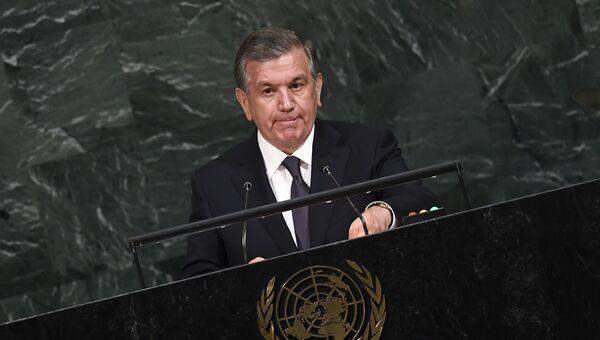 Президент Узбекистана Шавкат Мирзиеев во время выступления на заседании Генассамблеи ООН в Нью-Йорке, США. 19 сентября 2017