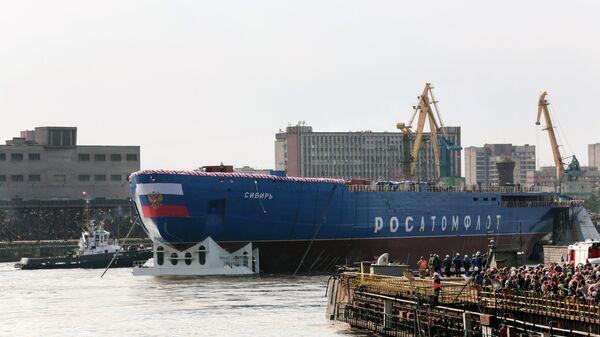 Церемония спуска на воду атомного ледокола ЛК-60Я Сибирь на Балтийском заводе в Санкт-Петербурге. Архивное фото