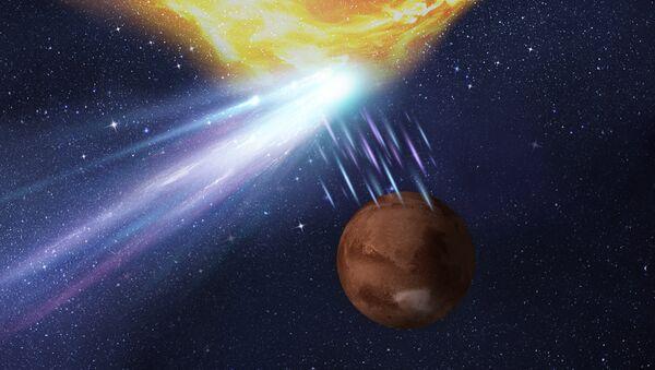 Так художник представил себе тройную встречу Марса, кометы и выброса с Солнца