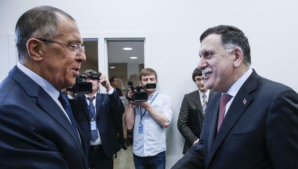 Глава МИД РФ Сергей Лавров на встрече с главой правительства национального согласия Ливии Файезом Сарраджем на полях 72-й сессии Генеральной Ассамблеи ООН. 22 сентября 2017