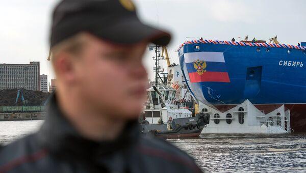 Спуск на воду атомного ледокола Сибирь в Санкт-Петербурге. Архивное фото