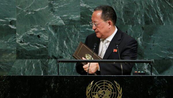 Глава МИД КНДР Ли Ён Хо во время выступления на ГА ООН, 23 сентября 2017