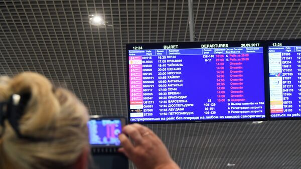 Регистрационное табло в аэропорту Домодедово, где произошла отмена рейсов одной из авиакомпаний
