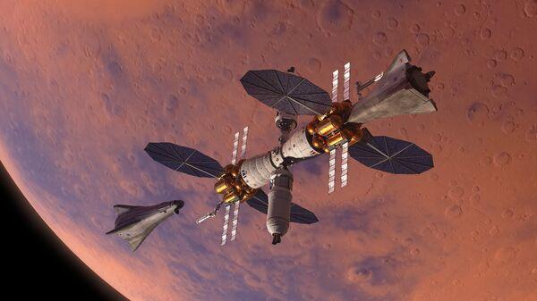 Челноки MADV, состыкованные с марсианской базой MBC