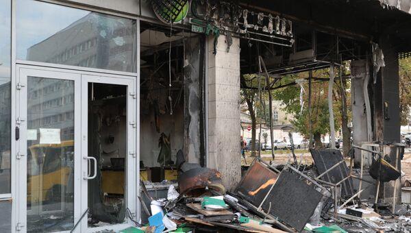 Отделение Сбербанка на проспекте Вячеслава Черновола, 2Б во Львове, сгоревшее в ночь на 3-е октября