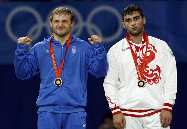Бронзовые медалисты Олимпиады-2008 Украинец Тарас Данко и Россиянин Георгий Кетоев