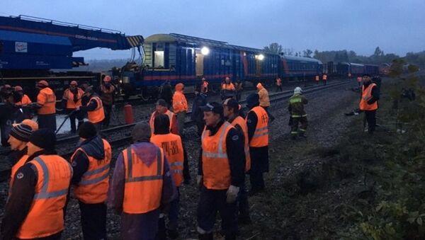 Аварийно-восстановительные работы на месте схода вагонов в Тульской области. 6 октября 2017