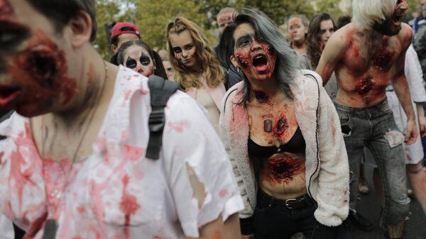 Участники Зомби-моба в Париже