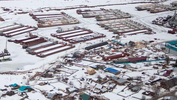 Вид на окрестности Якутска из вертолета. Архивное фото