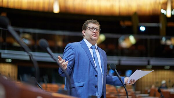 Глава украинской делегации Владимир Арьев во время заседания ПАСЕ в Страсбурге