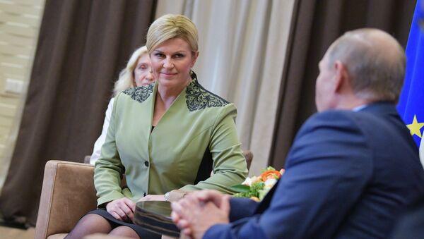 Президент Республики Хорватия Колинда Грабар-Китарович во время встречи с Владимром Путиным. 18 октября 2017