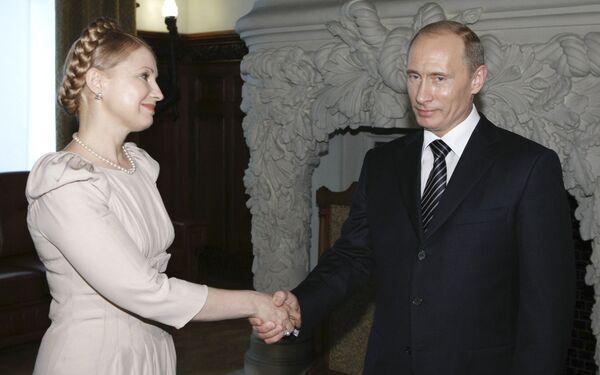 Председатель правительства РФ Владимир Путин и премьер-министр Украины Юлия Тимошенко