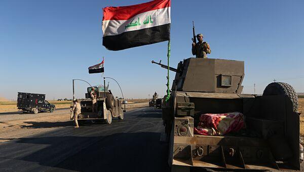 Иракские военные в районе города Эрбиля во время конфликта с курдскими вооруженными формированиями пешмерга в провинции Киркук