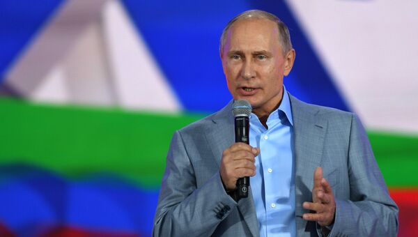 Президент РФ Владимир Путин на панельной дискусии в рамках фестиваля молодежи и студентов. 21 октября 2017