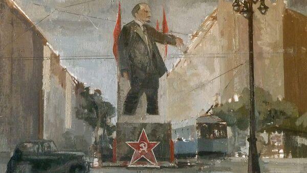 Картина, представленная на выставке произведений современных художников, посвященной 100-летию революции. 24 октября 2017
