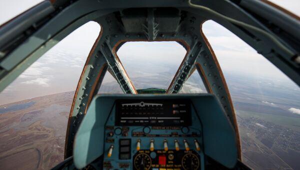 Вид из кабины штурмовика Су-25. Архивное фото