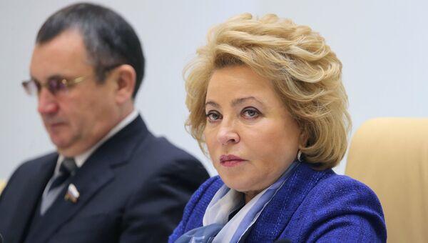 Председатель Совета Федерации РФ Валентина Матвиенко на заседании Совета Федерации РФ. 25 октября 2017