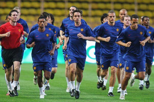 Манчестер Юнайтед на тренировке в Монако