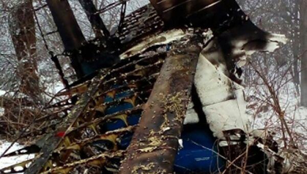 Сотрудники противопожарной службы МЧС России проводят тушение обломков частного самолета Ан-2 в Амурской области. 7 ноября 2017