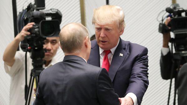 Президент США Дональд Трамп и президент РФ Владимир Путин перед рабочим заседанием лидеров экономик форума Азиатско-Тихоокеанского экономического сотрудничества. 11 ноября 2017
